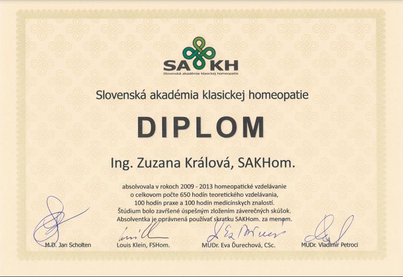 Zuzana Králová, homeopatka, absolventka SAKH